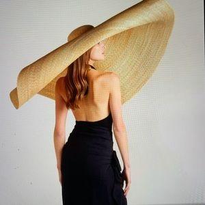 WIDE BRIM FOLDABLE STRAW HAT HUGE KHAKI